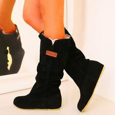 Women's PU Low Heel Mid-Calf Boots Snow Boots With Solid Color shoes