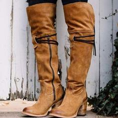 Women's Suede Chunky Heel Boots Knee High Boots Pointed Toe With Zipper Others Solid Color shoes