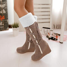 Women's PU Wedge Heel Mid-Calf Boots Snow Boots With Lace-up Colorblock shoes