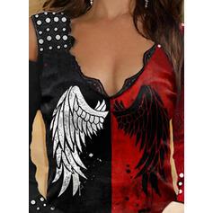 Color Block Print Lace Cold Shoulder Long Sleeves T-shirts