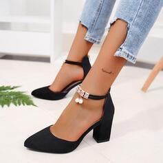 Women's PU Chunky Heel Pumps With Imitation Pearl Zipper shoes