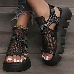 Women's Cloth Mesh Wedge Heel Sandals With Rhinestone Hollow-out Velcro Solid Color shoes