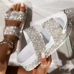 Women's PU Flat Heel Sandals Slippers With Rhinestone Hollow-out shoes