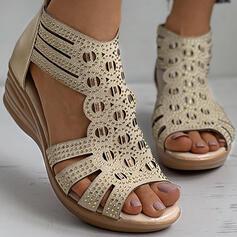 Women's PU Wedge Heel Sandals Wedges Peep Toe Heels With Rhinestone Zipper Hollow-out shoes