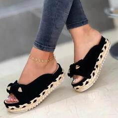 Women's Suede Flat Heel Sandals Slippers With Bowknot Braided Strap Solid Color shoes