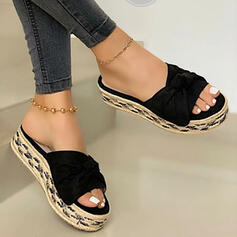 Women's PU Flat Heel Sandals Slippers With Solid Color shoes