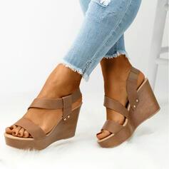 Women's PU Wedge Heel Sandals Wedges Peep Toe Heels With Solid Color shoes