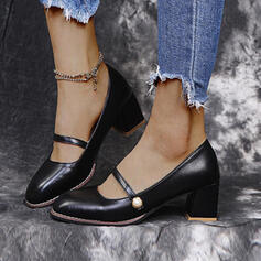 Women's PU Chunky Heel Pumps Closed Toe With Pearl Buckle Solid Color shoes