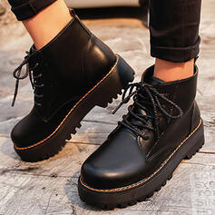 Women's PU Flat Heel Platform Boots Ankle Boots Martin Boots Round Toe With Lace-up Solid Color shoes