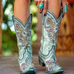 Women's Suede Chunky Heel Boots Riding Boots With Floral Embroidery shoes
