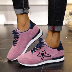 Women's Suede Flat Heel Flats Low Top Round Toe Sneakers With Lace-up Splice Color shoes