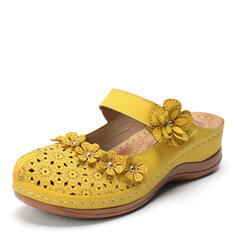 Women's Leatherette PU Chunky Heel Sandals Flats Slippers Round Toe With Buckle Hollow-out Flower shoes