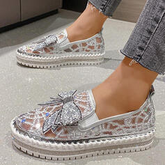 Women's PU Flat Heel Flats Low Top Round Toe Slip On With Bowknot Stitching Lace Hollow-out shoes