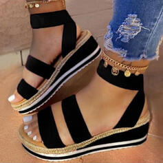 Women's Leatherette Wedge Heel Sandals With Split Joint Solid Color shoes