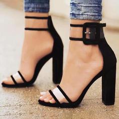 Women's Fabric Stiletto Heel Sandals Pumps Heels With Buckle shoes