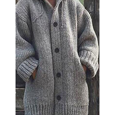 Solid Pocket Hooded Casual Cardigan