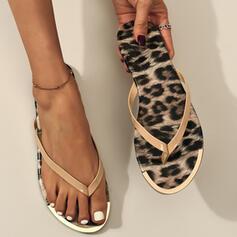 Women's PVC Flat Heel Sandals Flip-Flops Slippers With Animal Print shoes