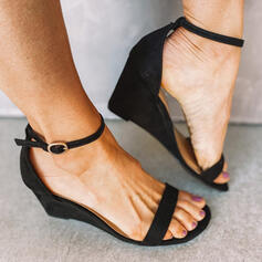 Women's Suede Wedge Heel Sandals Wedges Peep Toe With Buckle Hollow-out shoes