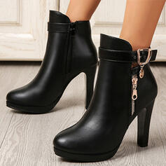 Women's PU Chunky Heel Platform Boots Ankle Boots Low Top Heels Pointed Toe With Buckle Zipper Solid Color shoes