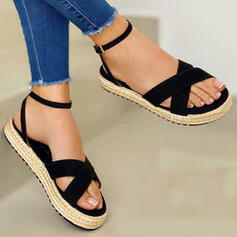 Women's Canvas Flat Heel Sandals With Solid Color Crisscross shoes