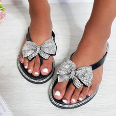 Women's PU Flat Heel Sandals Flats Peep Toe Flip-Flops Slippers With Bowknot Hollow-out shoes