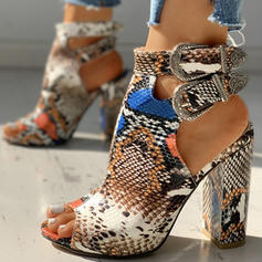 Women's PU Chunky Heel Sandals Pumps Peep Toe Heels With Buckle Animal Print shoes