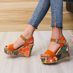 Women's Suede Wedge Heel Sandals Wedges Peep Toe With Hollow-out Splice Color shoes
