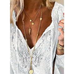 Solid Lace V-Neck Long Sleeves Casual Blouses