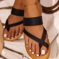 Women's PU Low Heel Sandals Slippers Toe Ring With Solid Color Crisscross shoes