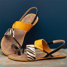 Women's Leatherette Flat Heel Sandals Flats Peep Toe Toe Ring With Split Joint shoes