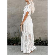 Lace/Solid Short Sleeves A-line Skater Elegant Maxi Dresses