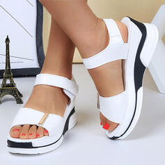 Women's PU Wedge Heel Sandals With Velcro Colorblock shoes