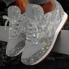 Women's PU Flat Heel Flats Low Top Round Toe With Rhinestone Sparkling Glitter Lace-up shoes