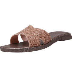 Women's Plastics Flat Heel Sandals Slippers With Rhinestone shoes