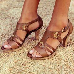 Women's PU Chunky Heel Sandals Pumps Peep Toe Heels With Buckle shoes