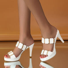 Women's PU Stiletto Heel Pumps Peep Toe Slippers Heels With Rhinestone shoes