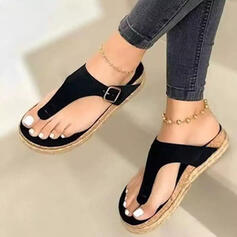 Women's PU Flat Heel Flip-Flops Slippers With Hollow-out Solid Color shoes