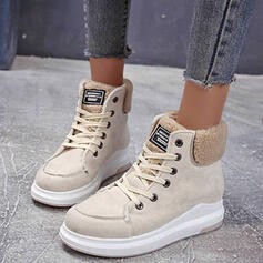 Women's Suede Low Heel Round Toe Martin Boots With Buckle Lace-up Solid Color shoes