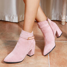 Women's PU Chunky Heel Boots With Buckle Zipper Others Solid Color shoes