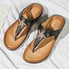 Women's Microfiber Leather Flat Heel Sandals Flats Peep Toe Flip-Flops Slippers With Beading shoes