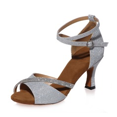 Women's Latin Heels Sandals Leatherette With Rhinestone Ankle Strap Latin