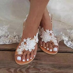 Women's PU Flat Heel Sandals Toe Ring With Applique Flower Solid Color shoes