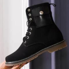 Women's Suede Flat Heel Boots Ankle Boots With Rivet Animal Print Lace-up shoes