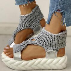 Women's Fabric Flat Heel Sandals Flats Peep Toe shoes