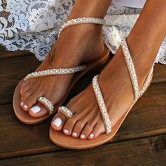PU Flat Heel Sandals Flats Peep Toe Toe Ring With Imitation Pearl shoes