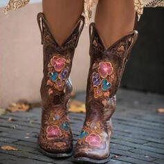 Women's PU Chunky Heel Boots With Floral Embroidery shoes