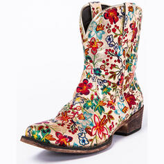 Women's PU Chunky Heel Boots With Flower Embroidery shoes