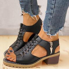 Women's PU Chunky Heel Sandals Pumps Peep Toe Heels With Zipper shoes