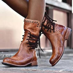 Women's Leatherette Chunky Heel Boots With Rivet Lace-up shoes