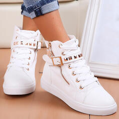 Women's PU Flat Heel Boots Ankle Boots Low Top Round Toe With Rivet Zipper Lace-up Solid Color shoes